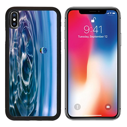 Illuminated Column (MSD Premium Apple iPhone X Aluminum Backplate Bumper Snap Case Instant of a drop water hitting surface and causing small splash Image ID 24416840)