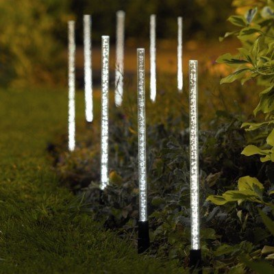 Garden Mile® 8 X LED SOLAR LIGHT CRYSTAL BUBBLE STICK SOLAR POWERED  RECHARGEABLE BATTERIES GARDEN LIGHTS BORDER POST LIGHTING, UNIQUE BRIGHT  SOLAR LIGHTS ...