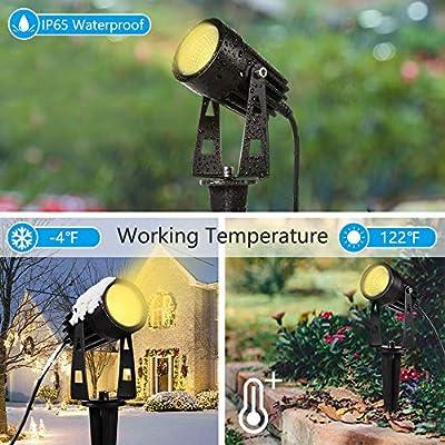 ALOVECO Low Voltage Landscape Lights, 12V LED Landscape Lights Waterproof Outdoor Spotlights Plug in Extendable Landscape Lighting Garden Lights Warm White Decorative Lamp for Walls Trees Yard, 4 Pack : Garden & Outdoor