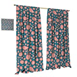 Anniutwo Pale Pink Blackout Window Curtain Drops and Round Splash of Bubble Gum on Blue Background in Cartoon Style Customized Curtains W84 x L96 Petrol Blue Coral