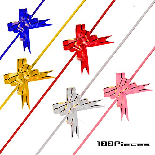 Flower Riboon Pull Mini Bows 2.3 inch for Christmas Gift Wrap Knot Strings Present Decoration Flowers 100 Pcs