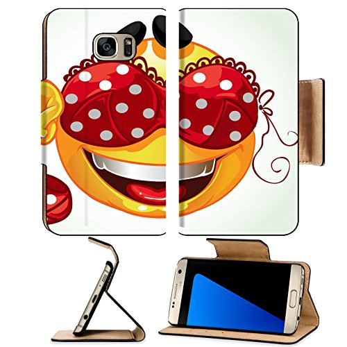 Luminosity Costumes (Luxlady Premium Samsung Galaxy S7 EDGE Flip Pu Leather Wallet Case IMAGE ID: 23151265 Funny smile with and red lingerie with white polka dots a series of adult party)