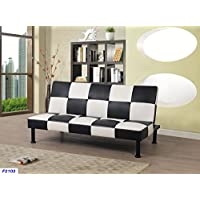 Beverly Fine Furniture F2103 Checkered Futon Sofa Bed, Black