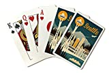 Seattle, Washington - Retro Skyline (Playing Card Deck - 52 Card Poker Size with Jokers)