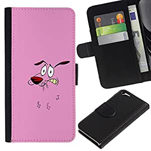 Paccase / Billetera de Cuero Caso del tirón Titular de la tarjeta Carcasa Funda para - Dog Pink Face Cartoon Character Animation - Apple Iphone 6 4.7