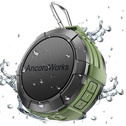 Bluetooth Shower Speaker by AncordWorks, 5W Driver 23 Hours Playtime, with Suction Cup/Clip Carabiner/DC Charger (Green)