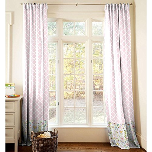 Carousel Designs Pink and Gray Primrose Drape Panel 96-Inch Length Standard Lining 42-Inch Width by Carousel Designs