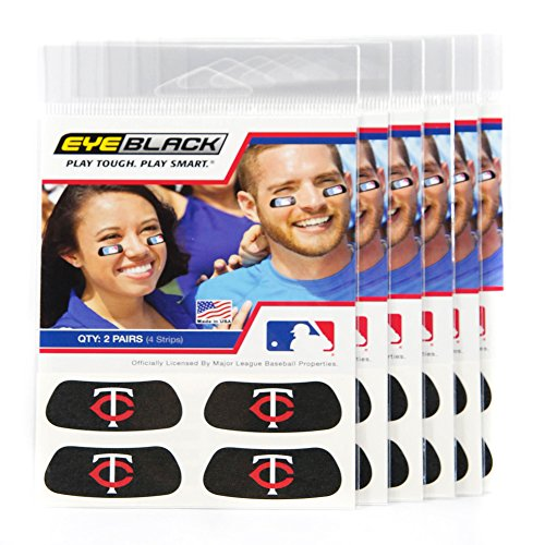 (24 Strips) Eye Black - Minnesota Twins MLB Eye Black Anti Glare Strips, Great for Fans & Athletes on Game - Twins Minnesota Stick Big