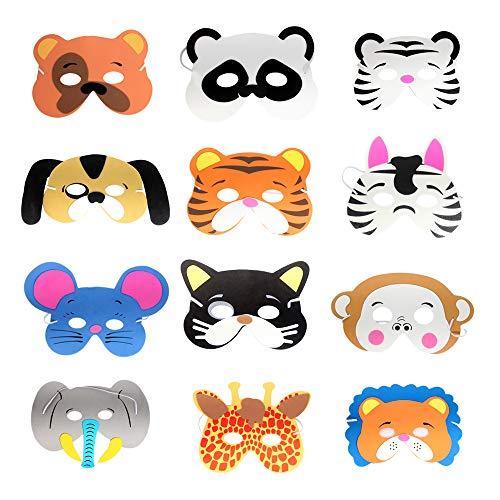 LW 12 pcs Animal Foam Masks Halloween Masks Dress-Up Party Accessory Theme Birthday Party Supplies]()