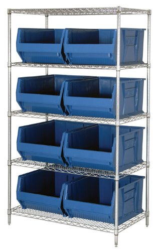 Quantum Storage Systems WR5-955BL 5-Tier Complete Wire Shelving System with 8 QUS955 Blue Hulk Bins, Chrome Finish, 24'' Width x 42'' Length x 74'' Height
