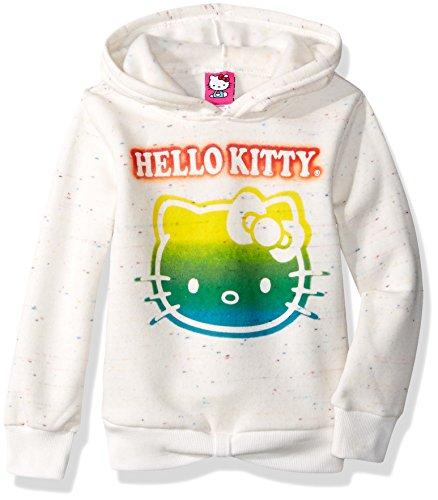 Hello Kitty Big Girls' Hoodie with Screen Print Sugar Glitter Sequins, Cream, 8