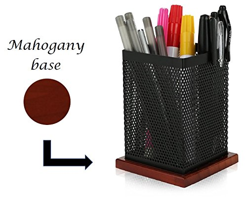 KLEAREX square mesh pen and pencil holder cup - Mahogany Desk Caddy