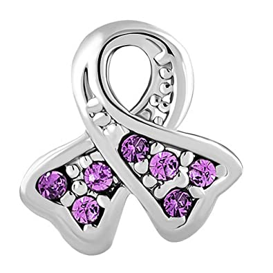 aec5a114e Mother's day Gift Lavender Ribbon Epilepsy Awareness Charm Bead For Charms  Bracelet: Amazon.co.uk: Jewellery