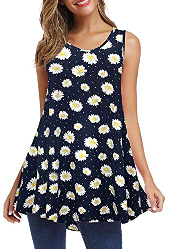 Jescakoo Loose Fit Swing Tunic Summer Floral Flare Tank Top for Women Ladies Daisy L