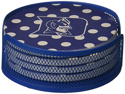 Devils Coaster Set (Thirstystone VDUKE2-HA27 Stoneware Drink Coaster Set with Holder, Duke University Dots)