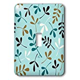 3dRose Natalie Paskell - Assorted Leaves - Assorted leaves in teal, faux gold color, cream color, brown and blue. - Light Switch Covers - single toggle switch (lsp_291316_1)