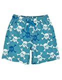Hatley Little Boys' Skulls Swim Trunks, Blue, 3