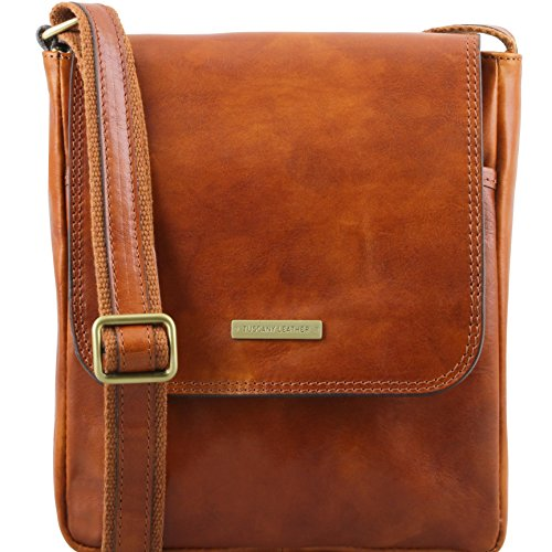 Tuscany Leather John Leather crossbody bag for men with front zip Honey by Tuscany Leather