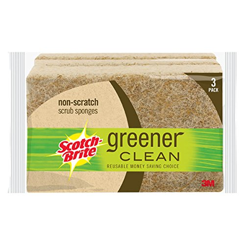 Scotch-Brite Greener Clean Natural Fiber Non-Scratch Scrub Sponge, Made from 100% Plant-Based Fibers, 12-Sponges 63C