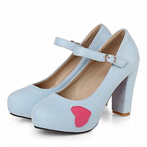 Latasa Femmes Doux Coeur Chunky Haut Talon Mary Jane Pompes Chaussures Bleu Clair