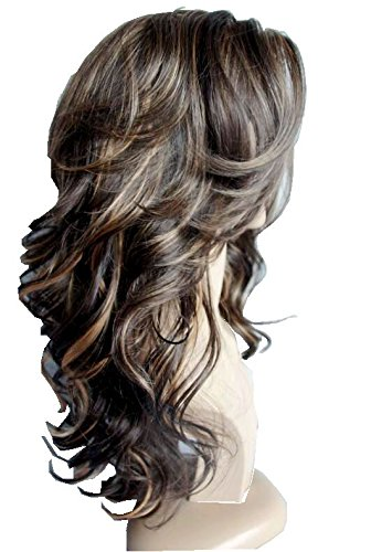 Wigbuy Hair Wigs Body Wavy Curly 24inches Long 100% kanekalon hair Fiber Synthetic Hair Wigs for Women (Mix color 2) ()