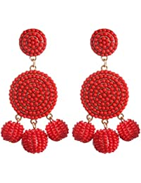 Beaded Earrings Elegant Soriee Dangle Bead Disc Bead 3 Ball Dangle Ear Drop Bead Tassel Earrings for Women Girl