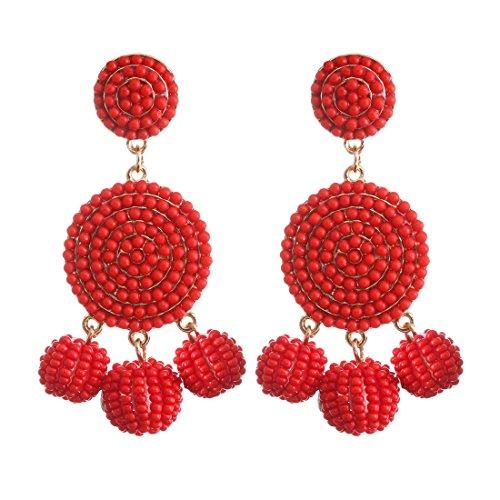 (ELEARD Beaded Earrings Elegant Soriee Dangle Bead Disc Bead 3 Ball Dangle Ear Drop Bead Tassel Earrings for Women Girl Light Red )
