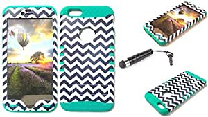 CellTx Shockproof Hybrid Case For Apple (iPhone 6 Plus) and Stylus Pen, Teal Soft Rubber Skin with Hard Cover (Chevron, Waves, Black, White) AT&T, T-Mobile, Sprint, Verizon, Boost Mobile, U.S Cellular, Cricket by mcsharks