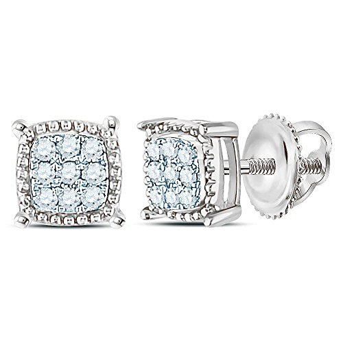 10k White Gold Mens Round Diamond Square Milgrain Earrings Studs 1/10 Ct.