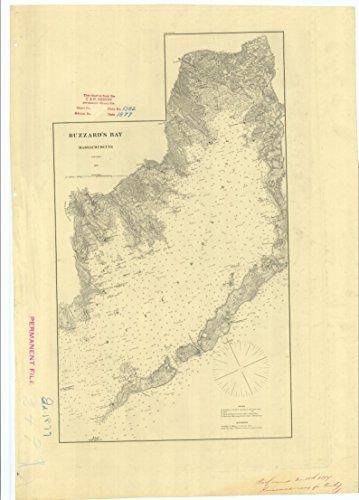 24 x 36 Giclee Print Nautical Map or Image of Buzzard's Bay Massachusetts 1877 NOAA - Map 1877 Massachusetts