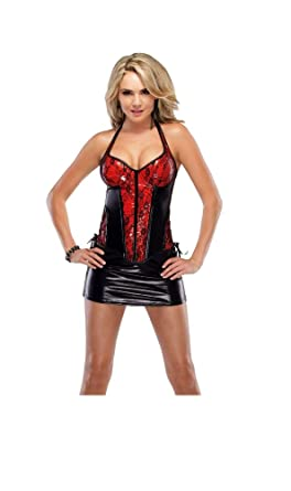 6a64f88c23f Top Totty Vinyl and Lace Halter Bustier and Skirt (OneSize)  Amazon.co.uk   Clothing