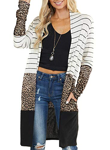 Elapsy Womens Casual Cozy Knit Open Front Long Sleeve Long Knit Cardigan Sweater
