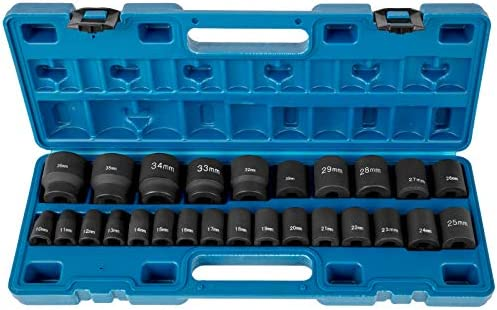 VEVOR Impact Socket Set 1/2 Inches 26 Piece Impact Sockets, Shallow Socket, 6-Point Sockets, Rugged Construction, CR-M0, 1/2 Inches Drive Socket Set Impact Metric 10mm - 36mm, with a Storage Cage