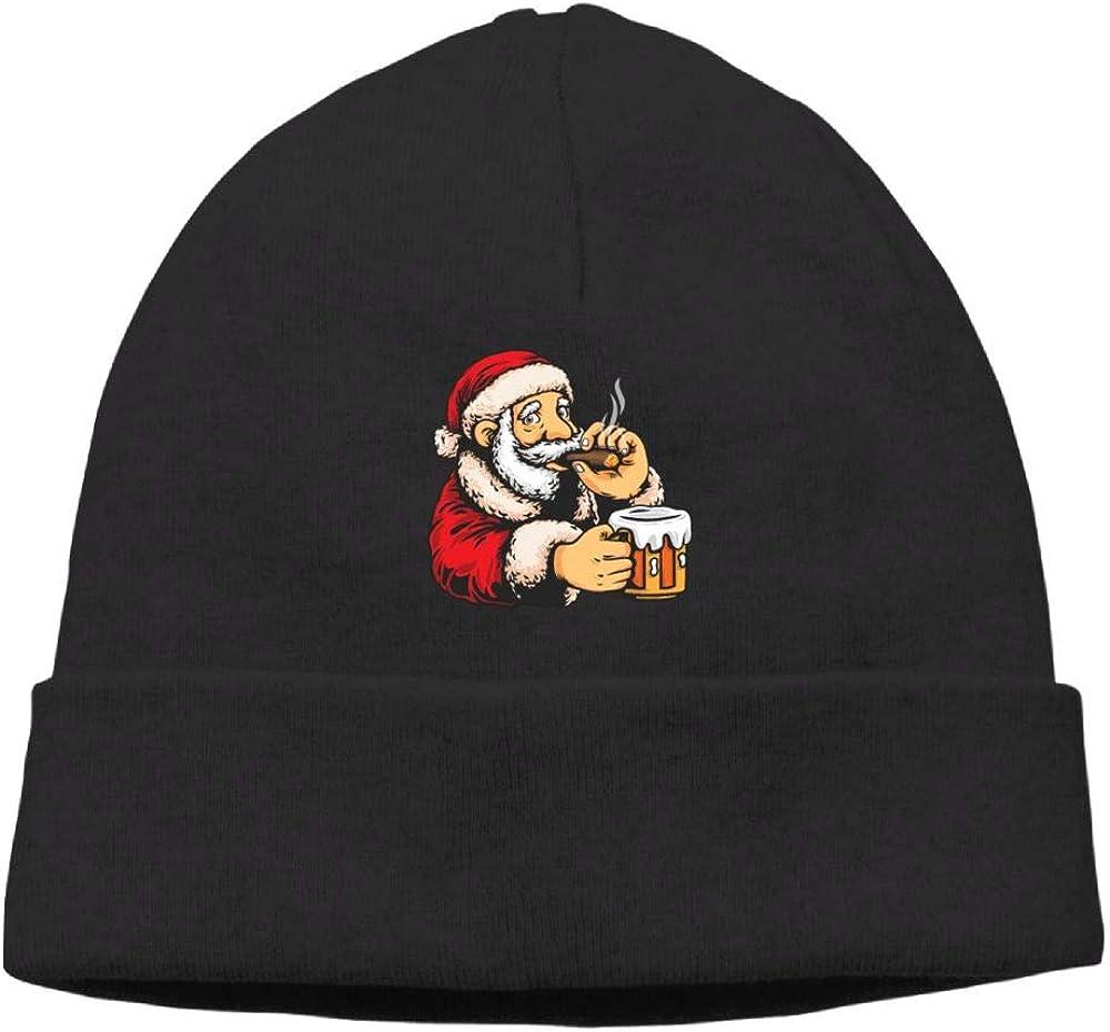 Oopp Jfhg Santa Smoking Drinking Beanies Knit Hats Ski Caps Men Black