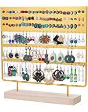 QILICHZ Vintage Earring Holder Earring Stand Earring Display Rack Jewelry Stand Decorative Jewelry Holder Display with Wooden Tray/Dish for Earrings Necklace Bracelet Rings 69 Holes 5-Tier