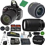 ZeeTech Ultimate Bundle for D5300 24.2 MP DSLR, NIKKOR 18-55mm f/3.5-5.6 Auto Focus-S DX VR, Nikon 70-300mm f/4-5.6G Auto Focus Nikkor,2pcs 16GB ZeeTech Memory, Camera Case