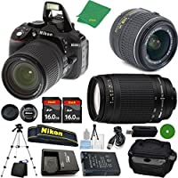 Nikon D5300 DSLR - International Version (No Warranty), 18-55mm f/3.5-5.6 DX VR, Nikon 70-300mm f/4-5.6G Nikkor, 2pcs 16GB Memory, Camera Case