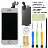 InjuredGadgets - LCD display Touch Screen Glass Digitizer Assembly With Spare Parts (home button & Camera & Flex Cable) for iPhone 5S White