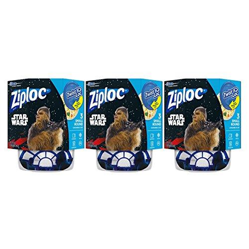 Ziploc Brand Container Twist n' Loc Featuring Star Wars Design, Small, 16oz, 3ct, 3 Pack