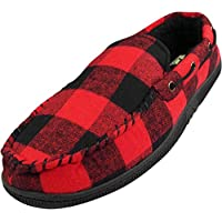 NORTY - Mens Buffalo Plaid Moccasin Slipper, Black, Red 40015-Large