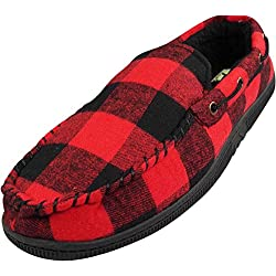 Mens Buffalo Plaid Moccasin Slipper, Black, Red