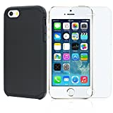 iPone SE Case, iPhone 5S Case , iPhone 5 Case, Deego boundle Case 2 in1 PC Silicone Ultra Slim Rugged Hard Protective Dual Case Cover Includes 0.3mm 9H 2.5D Tempered Glass Screen Protector (Black)