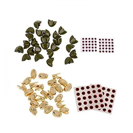 flameer 50 piezas branelli tungstano Ojos 3d flotador cabeza Sculpin richiami herramienta para pesca cobre