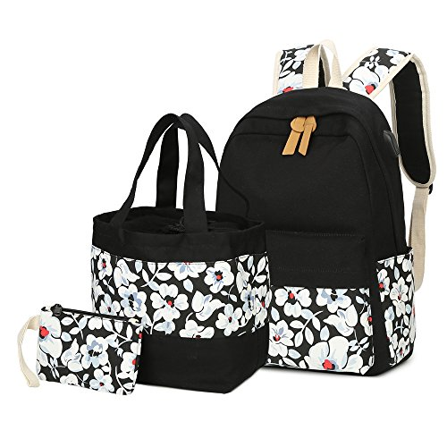 CAMTOP Canvas Backpack Set 3 Pieces School Backpack for Girls Laptop Bag