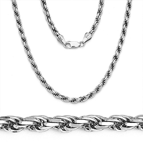 NECKLACE STERLING SILVER ROPE CHAIN ITALY 2MM 14
