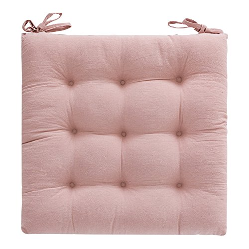 Soft Comfort Non Slip Seat Cushion Thick Dining Chair Pads with Ties Square Cotton Cushion (Pink) (Chair Pads Embroidered)