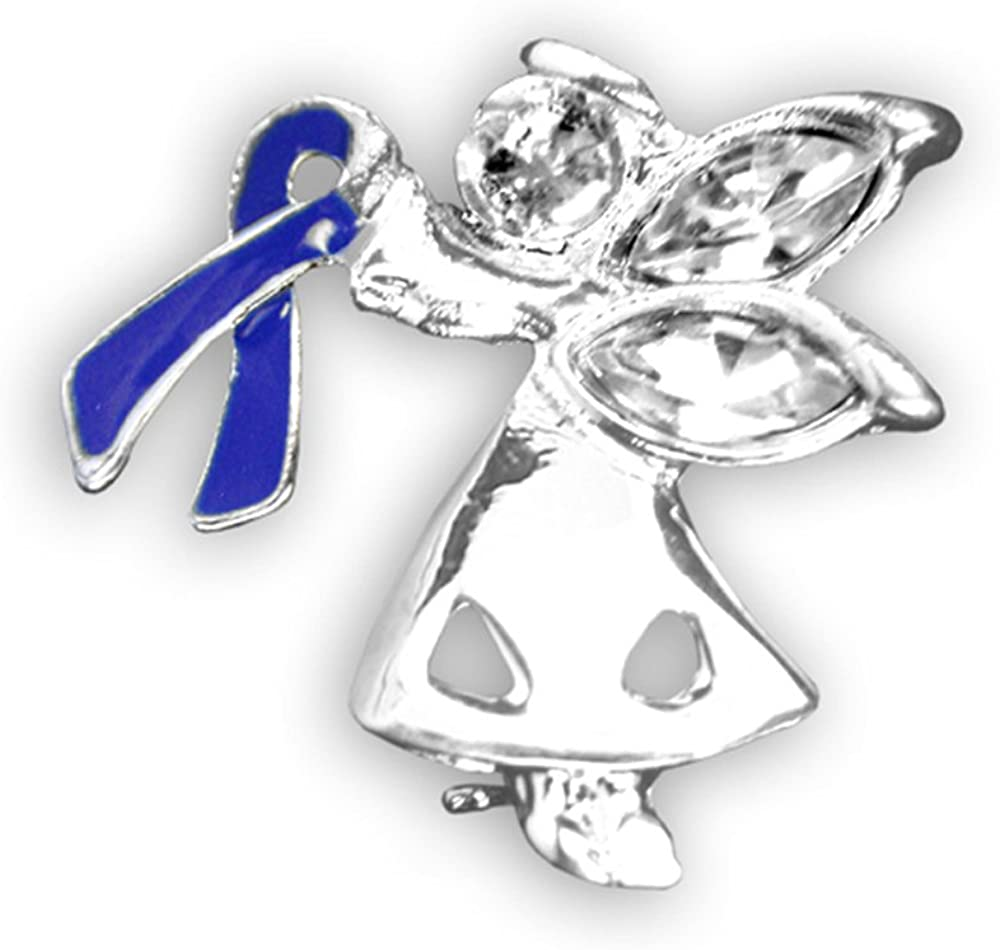 Amazon Com 25 Pack Colon Cancer Awareness Dark Blue Ribbon Angel Pins Wholesale Pack 25 Pins Clothing