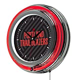 Trademark Gameroom NBA1400-PTB2 NBA Chrome Double Rung Neon Clock - Fade - Portland Trailblazers