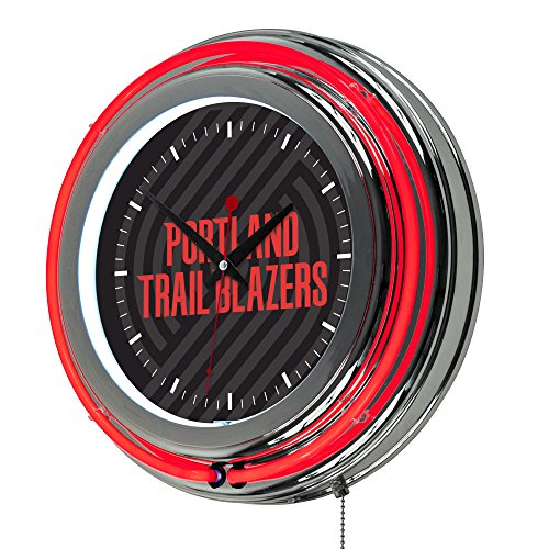 Trademark Gameroom NBA1400-PTB2 NBA Chrome Double Rung Neon Clock - Fade - Portland Trailblazers by Trademark Global