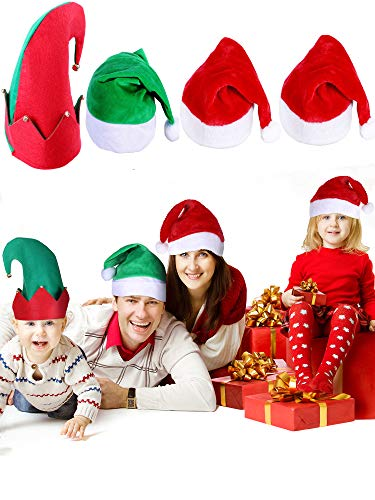SATINIOR 4 Pieces Christmas Santa Hat Adult Plush Christmas Elf Hats for Christmas Party Decoration Supplies, 3 Styles